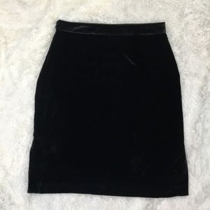 Madewell Black Velvet Pencil Skirt